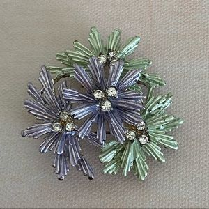 VINTAGE Purple Green Flower Brooch with stones